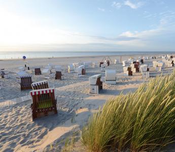 Der Strand der Insel Baltrum mit Strandkörben und Blick auf die Nordsee